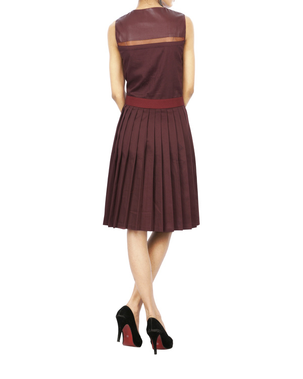 Burgundy tuile strip dress 1