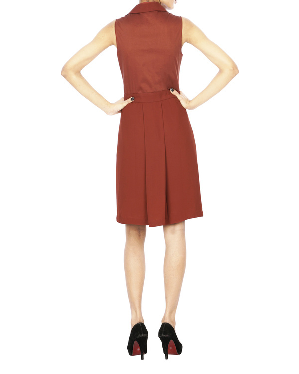 Brick red collar dress 1