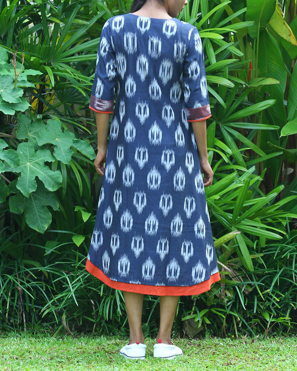 Navy uneven ikat tunic 2