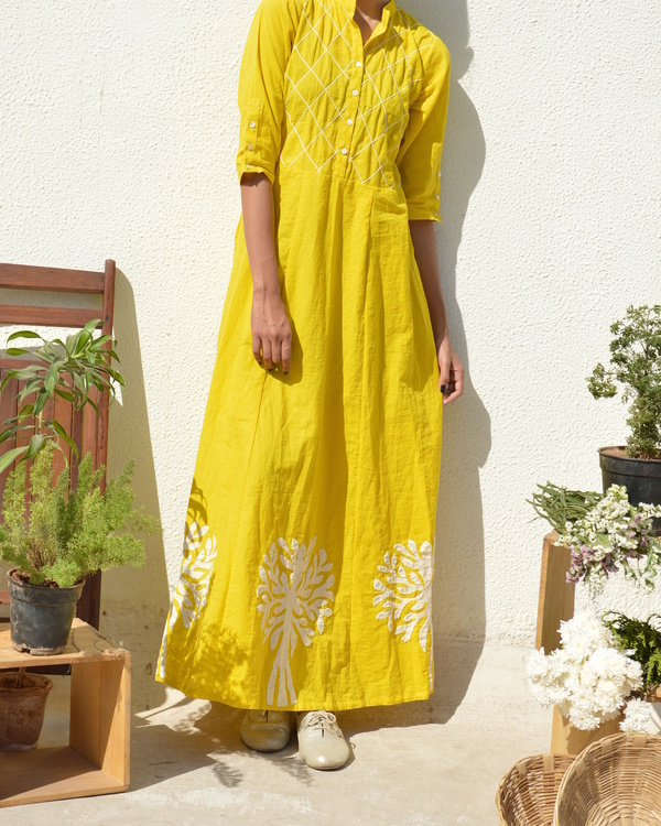 Yellow applique and tucks dress 1