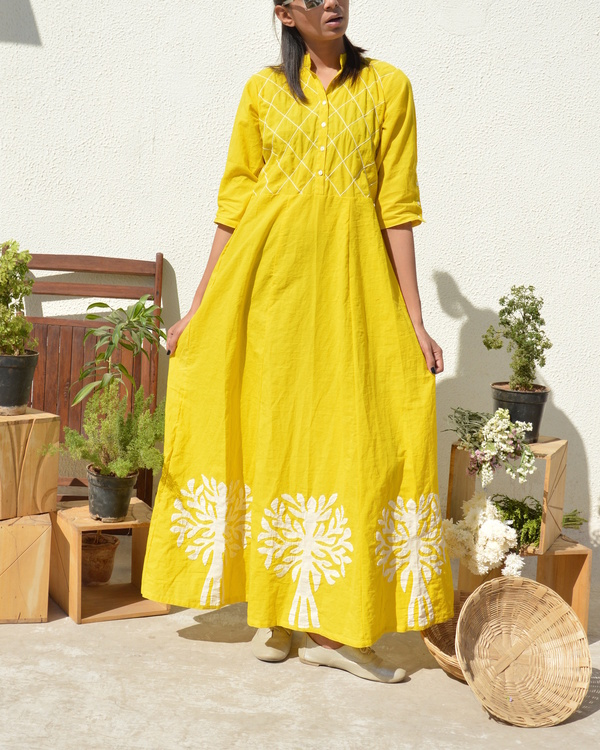Yellow applique and tucks dress 2