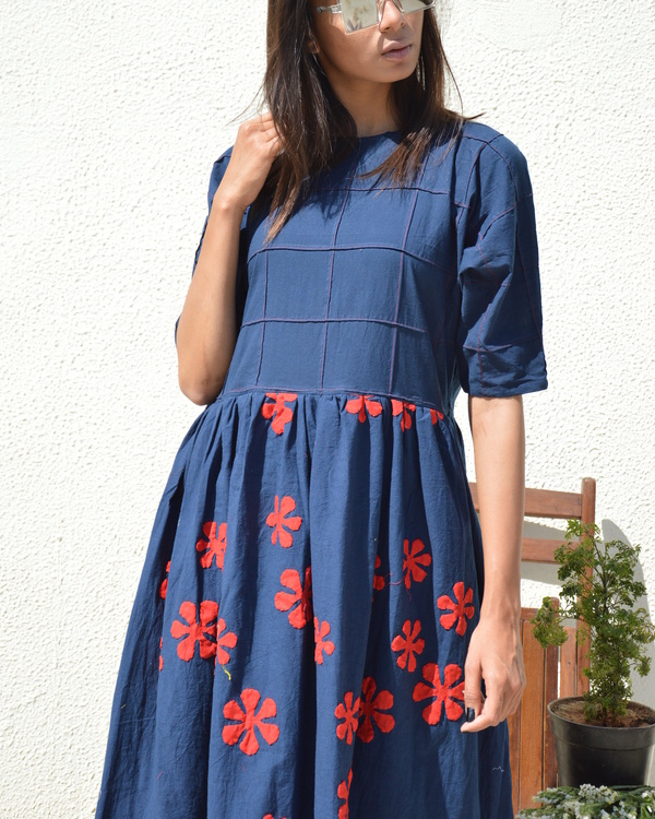 Blue red flower applique dress 1