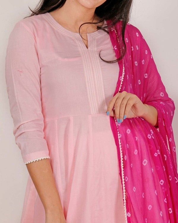 Lemonade pink lilac kurta set with Dupatta 1