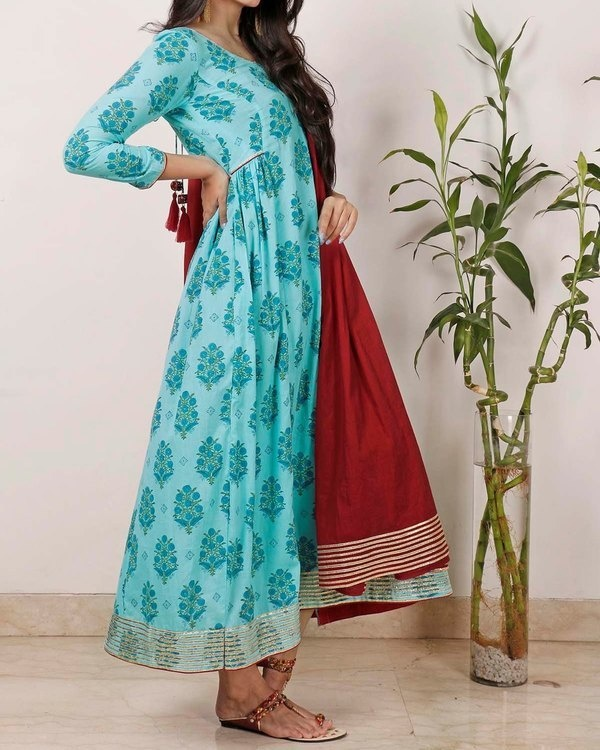 Cyan Gota Tunic with dupatta 1