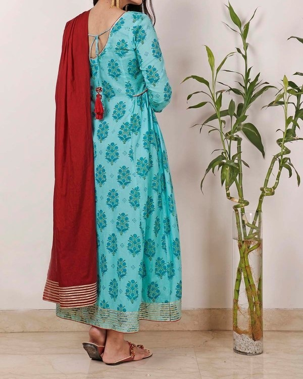 Cyan Gota Tunic with dupatta 2