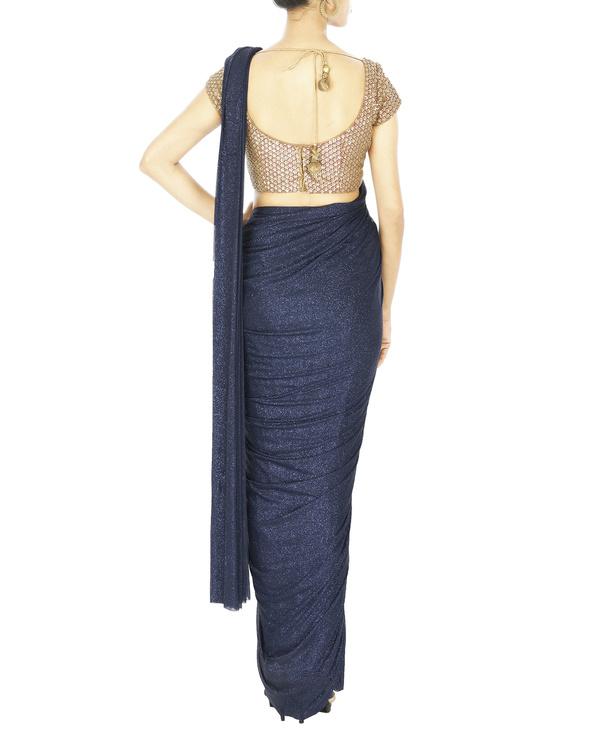 Midnight blue shimmer lycra net pre stitched saree 1
