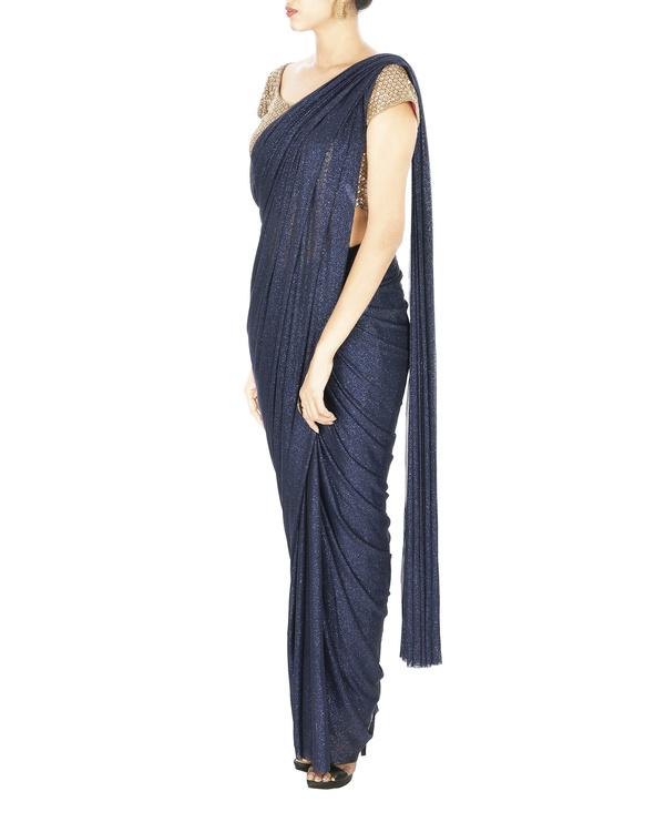 Midnight blue shimmer lycra net pre stitched saree 2
