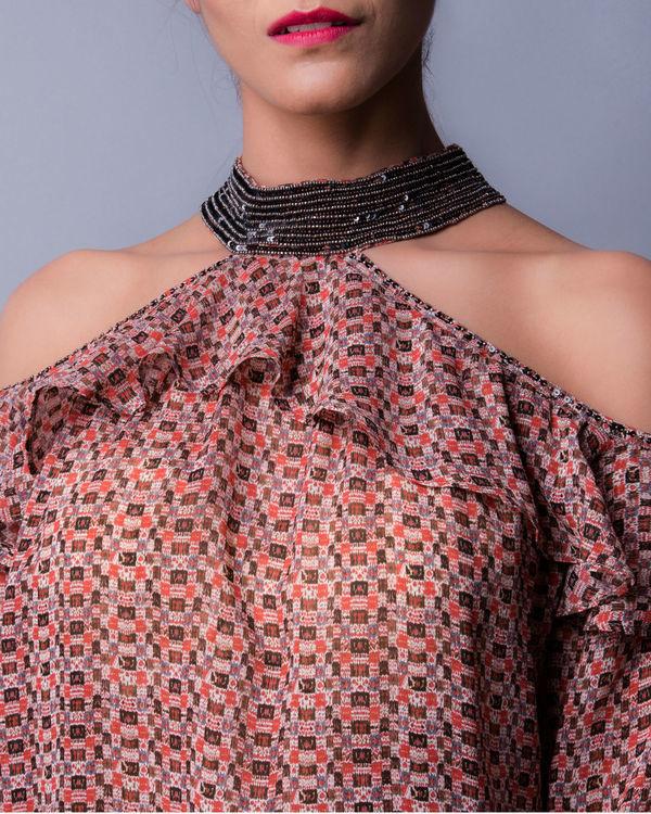 Multi print choker styled ruffled blouse 1
