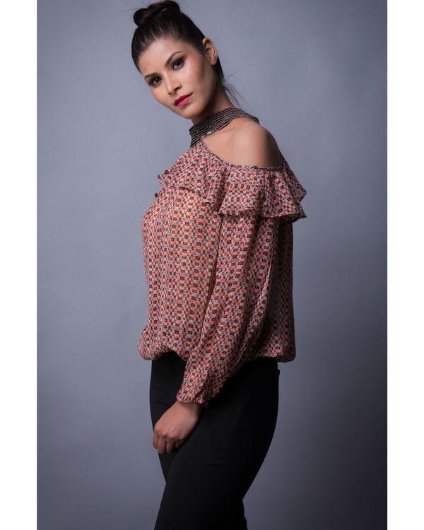 Multi print choker styled ruffled blouse 2