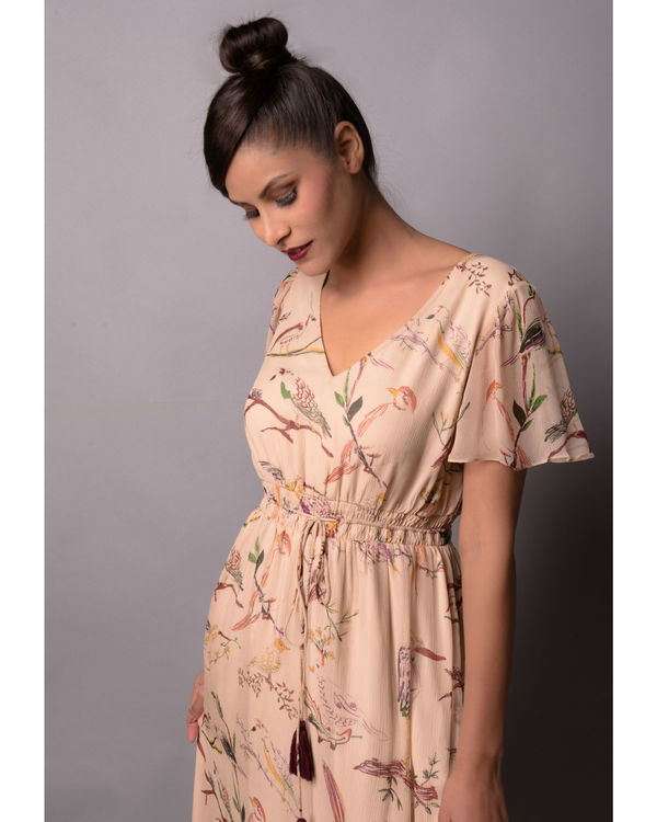 Beige birdie print dress 1