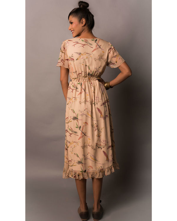 Beige birdie print dress 2
