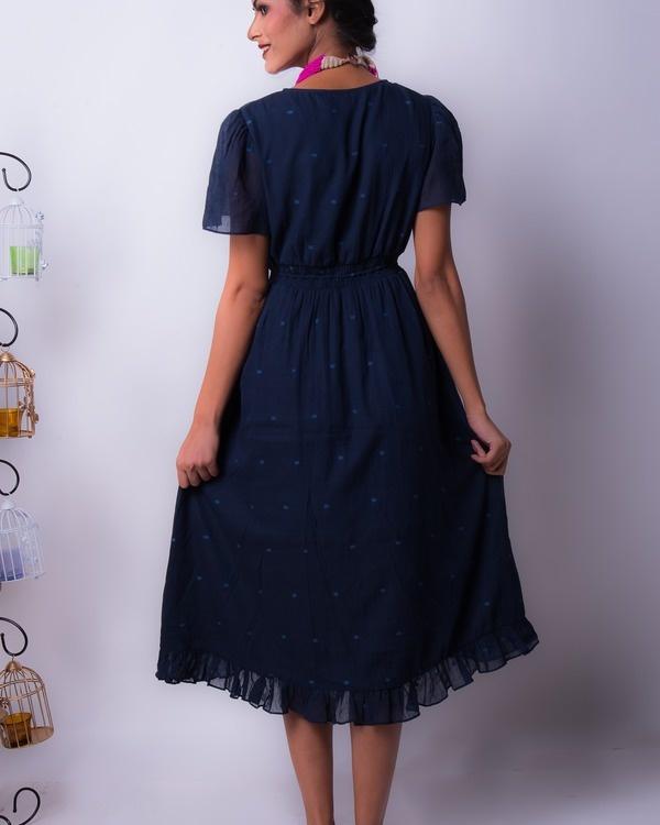Midnight cotton silk ruffle dress 1