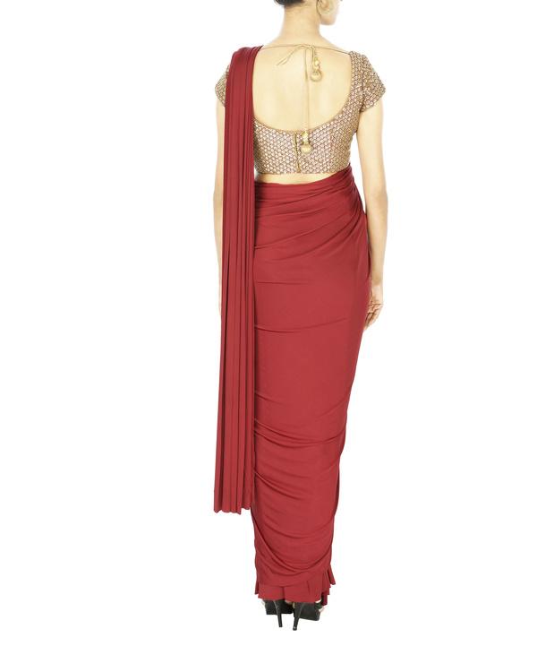 Oxblood lycra pre stitched saree 1