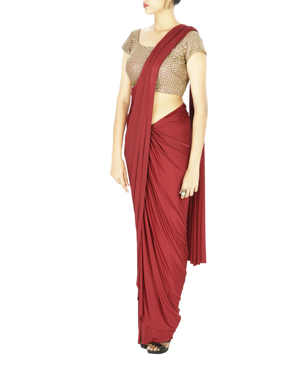Oxblood lycra pre stitched saree 2
