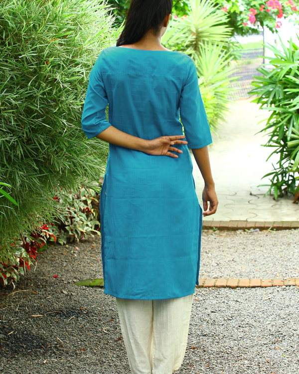 Carolina blue striped cotton kurta 2