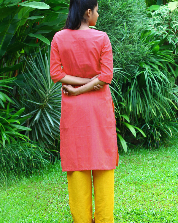 Berry peach striped cotton kurta 2