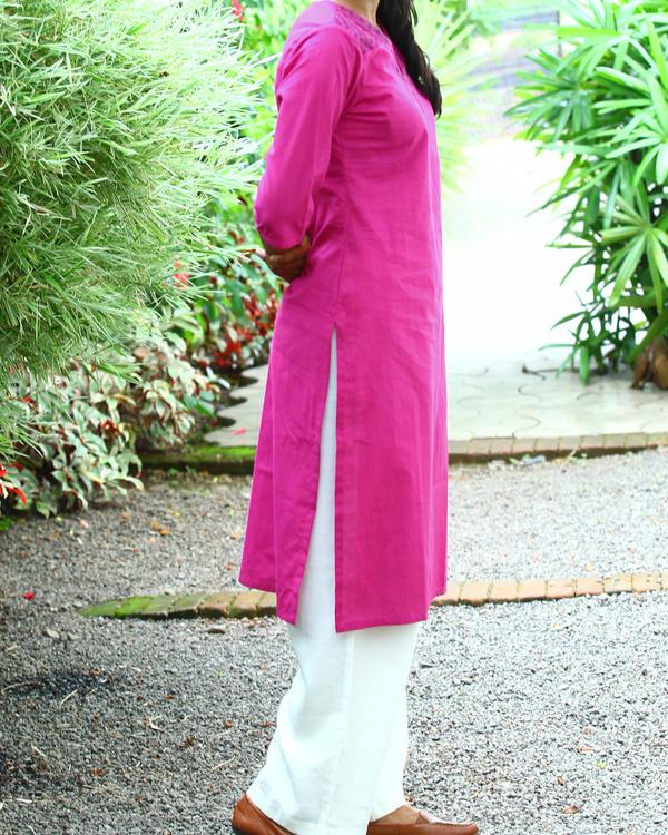 Raspberry striped cotton kurta 1