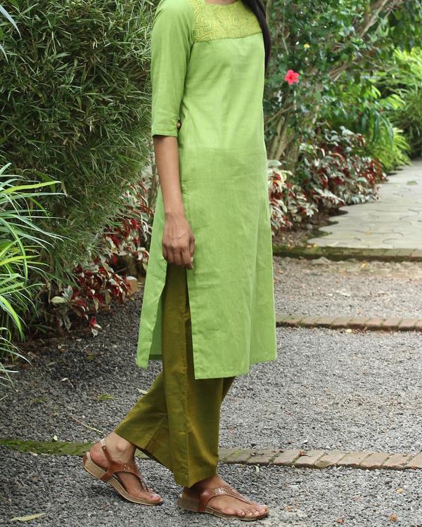 Chartreuse striped cotton kurta 1