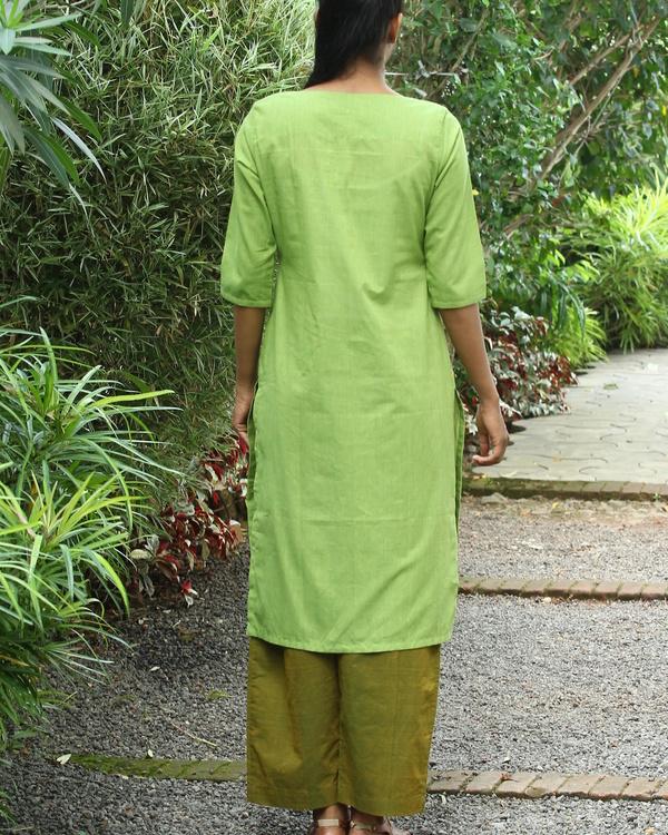 Chartreuse striped cotton kurta 2
