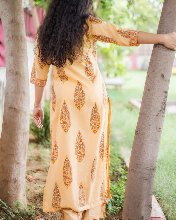 Sherbet orange buttoned tunic with palazzos 1