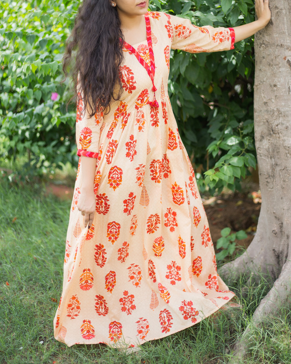 Nude orange printed maxi 1