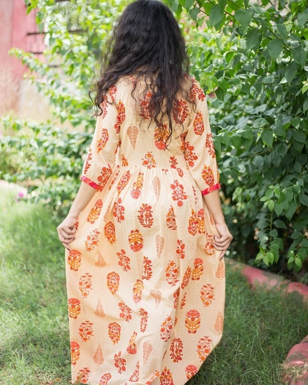 Nude orange printed maxi 2