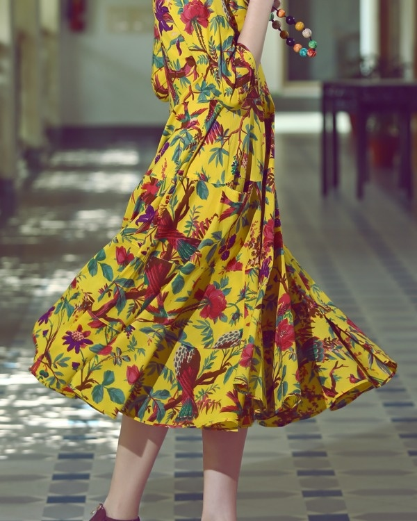 Sunflower yellow multi print midi 1