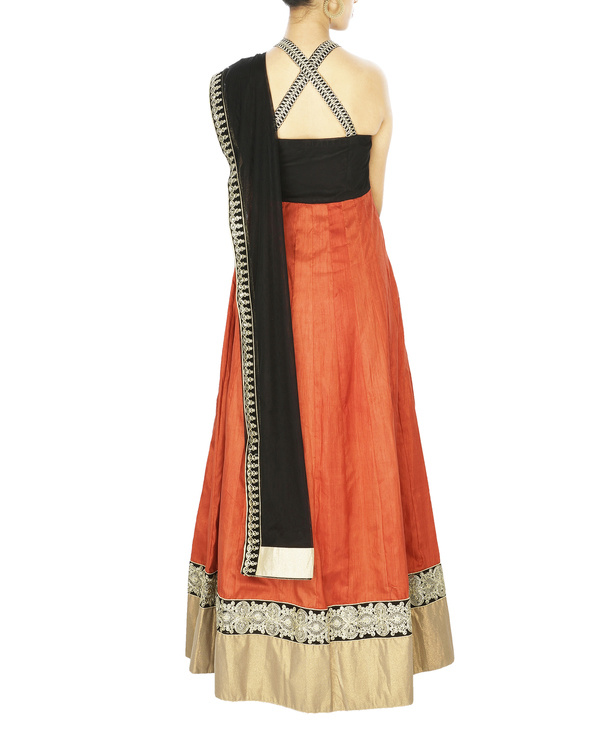 Cross back anarkali with embroidered velvet yoke and silk gheera 1