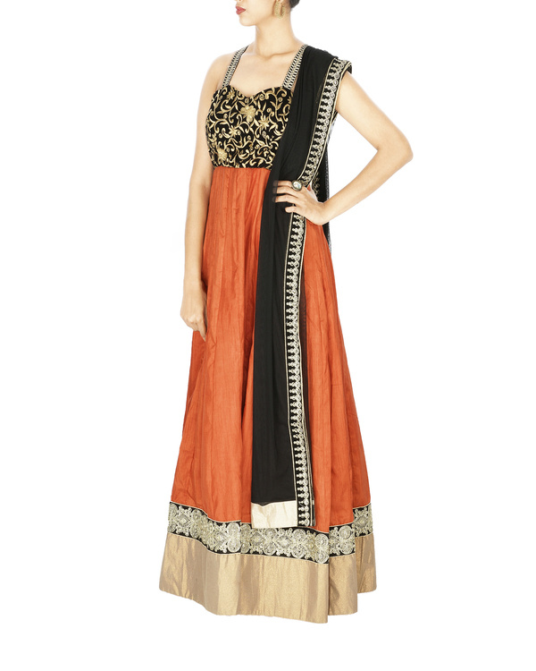 Cross back anarkali with embroidered velvet yoke and silk gheera 2