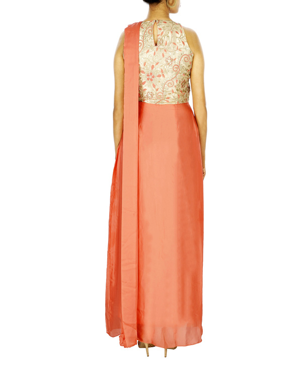 Saree gown in silk chiffon with embroidered yoke 1