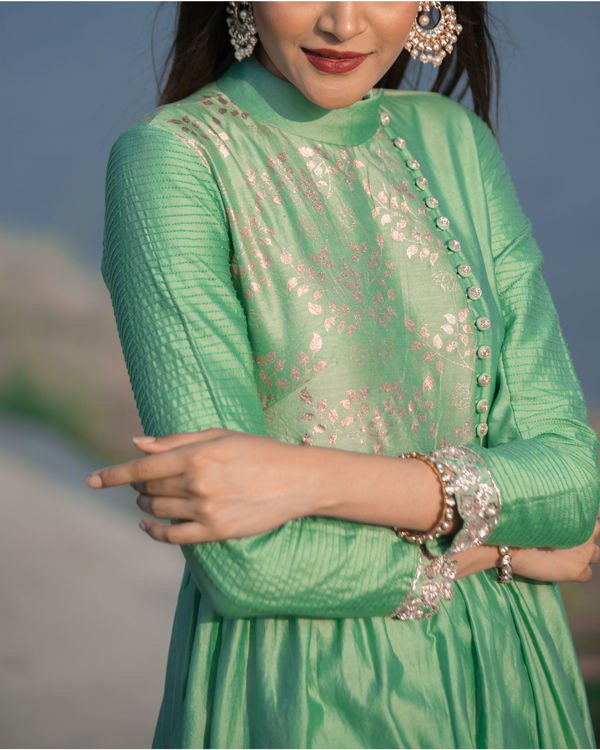 Basil green asymmetrical tunic 1