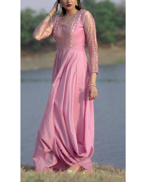 Mauve double cowl dress 2