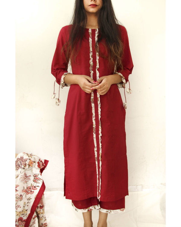 Ruby red kurta with culottes and dupatta 1