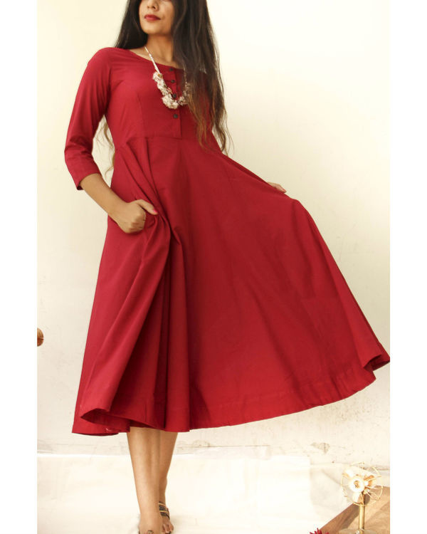 Sangria red midi with neckpiece 1