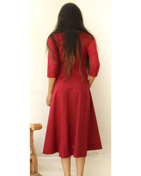 Sangria red midi with neckpiece 2