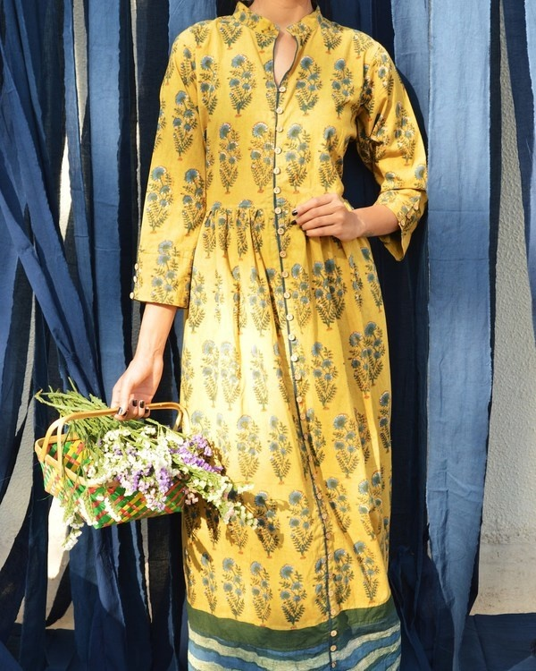 Mustard sapphire green floral printed tunic 1