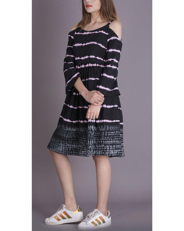 Onyx shibori cold shoulder dress 1