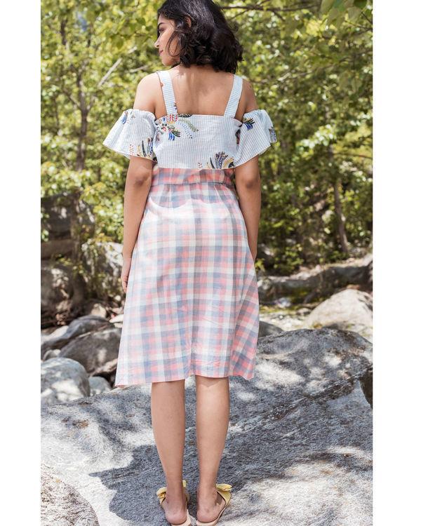 Rainforest peach checkered cold shoulder dress 1