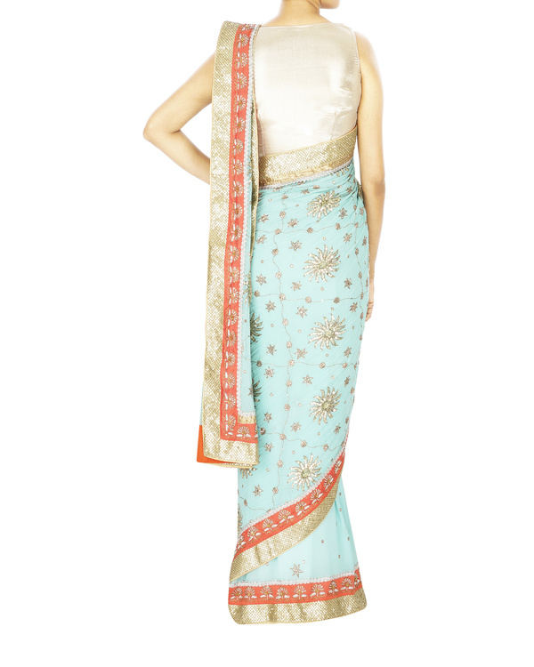 Light blue zardosi work sari with golden blouse 1