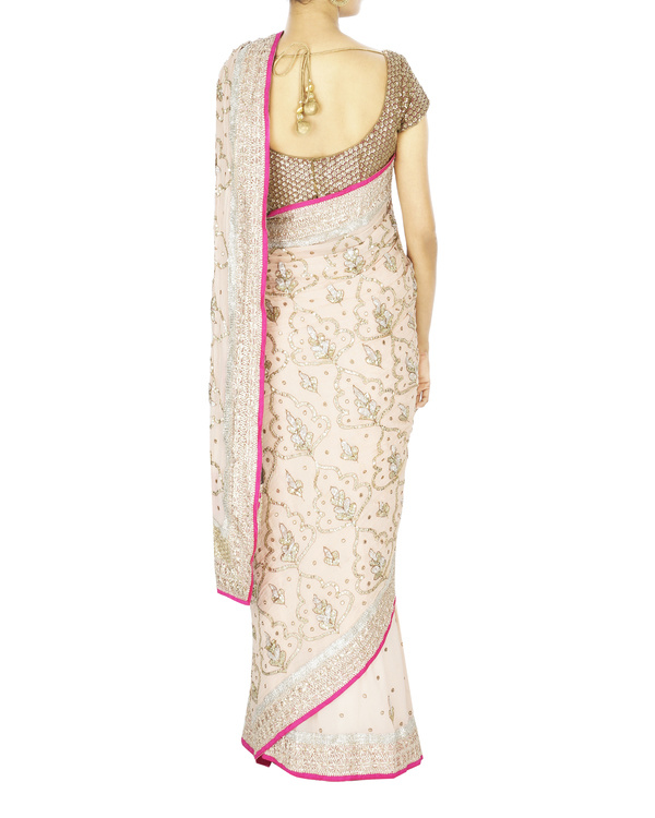 Snow white pink georgette sari with blouse 1