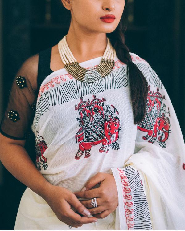 Ivory ganesha multi print sari 1