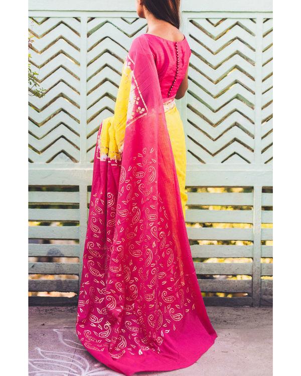 Fuscsia canary kalki print sari 1