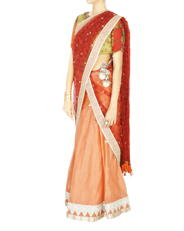 Peach chanderi base lehenga with net dupatta and floral blouse 2