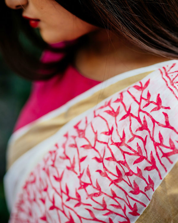 Red sorbet white sari with gold border 1