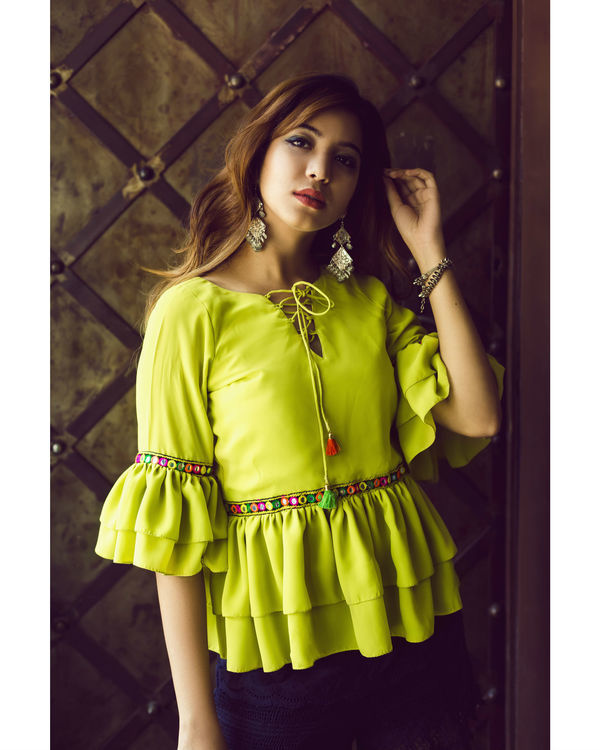 Lime Green ruffled top 1