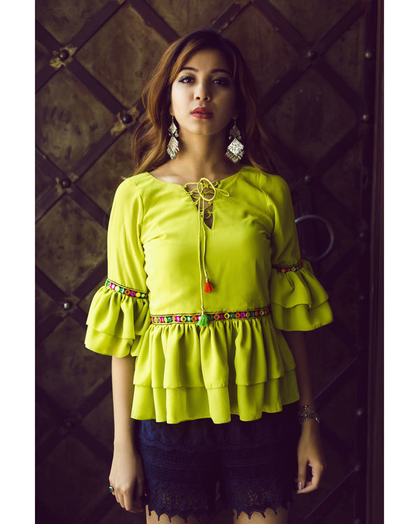 Lime Green ruffled top 2