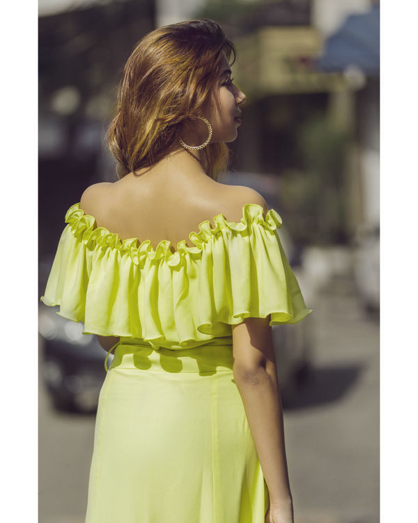 Lime Yellow ruffled maxi 1