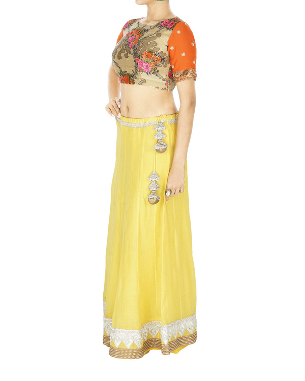 Yellow chanderi lehenga with green silk kota dupatta and floral blouse 2