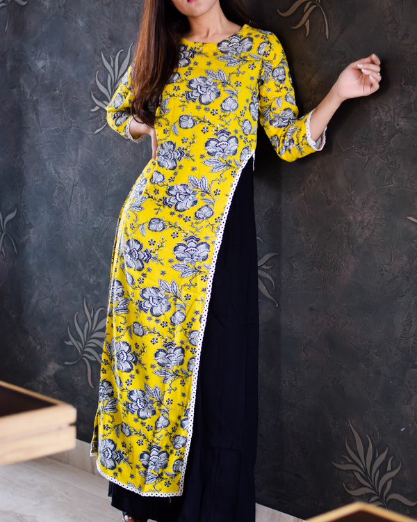 Yellow crayon floral maxi with inner 1
