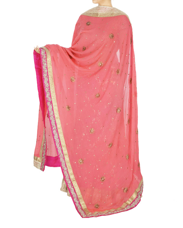 Fuscia pink georgette lehenga with chiffon dupatta and sequence blouse 1